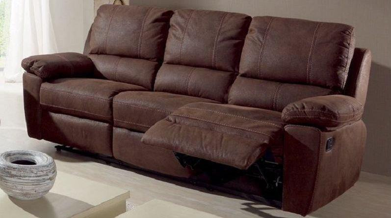 Sofá reclinable eléctrico con acabados de tela